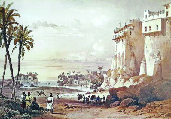 The sketch of a scene in Rohri which was spelled 'Rorree' by Edwards. PHOTO: COURTEST SINDH CULTURE DEPARTMENT