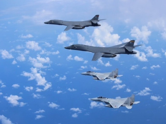 Japanese fighter jets, USA bombers conduct war games