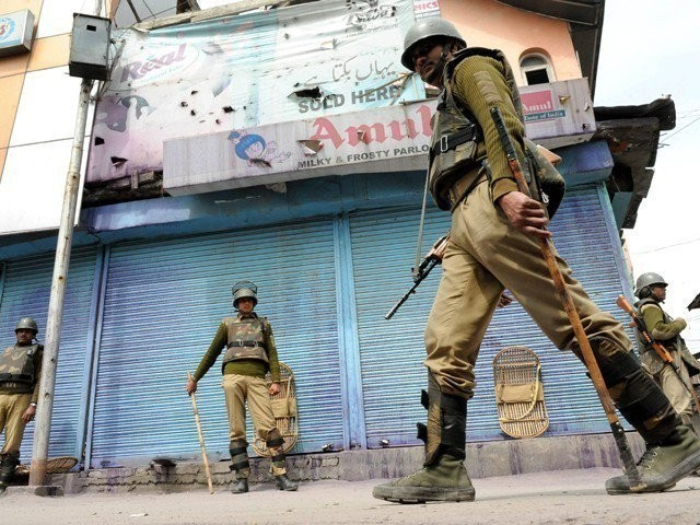 A file photo of Indian forces in held Kashmir. PHOTO: AFP