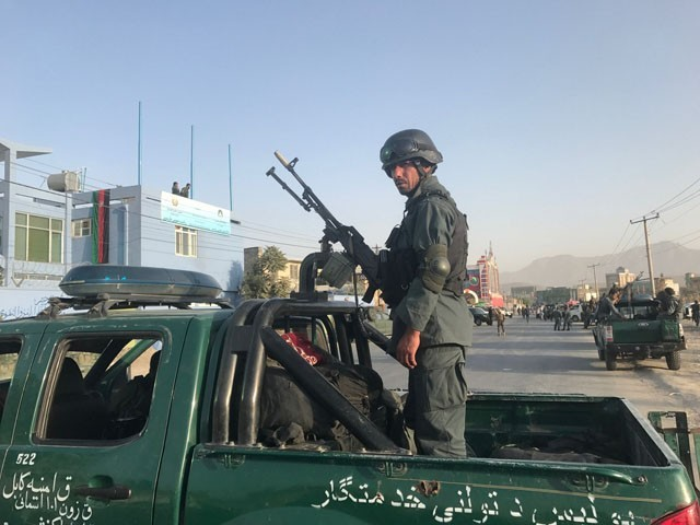 Afghan policemen stand guard at the site of a blast in Kabul, Afghanistan September 13, 2017. PHOTO: REUTERS