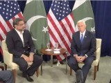 PM Khaqan Abbasi meets US Vice President Mike Pence in New York. PHOTO: PIPD
