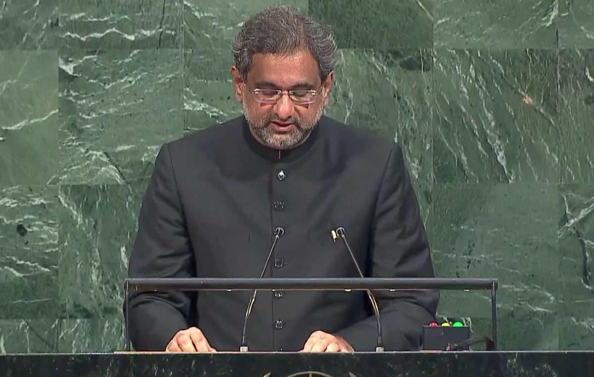 Prime Minster Shahid Khaqan Abbasi addresses the 72nd session of the UN General Assembly in New York. PHOTO: ONLINE