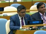 Pakistani delegate Tipu Usman exercising Pakistan's right of reply at the United Nations. PHOTO: ONLINE