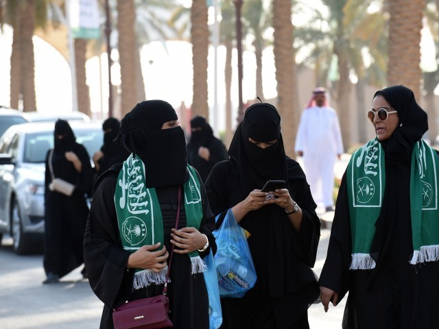 Saudi families arrive outside a stadium to attend an event in the capital Riyadh. PHOTO: AFP
