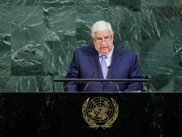 Deputy Prime Minister for Syrian Arab Republic Walid Al-Moualem addresses the 72nd United Nations General Assembly at UN headquarters in New York. PHOTO: REUTERS