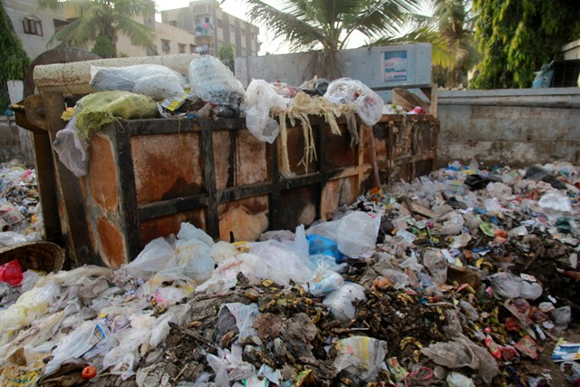 There is no garbage collection system in the district. PHOTO: ATHAR KHAN/EXPRESS