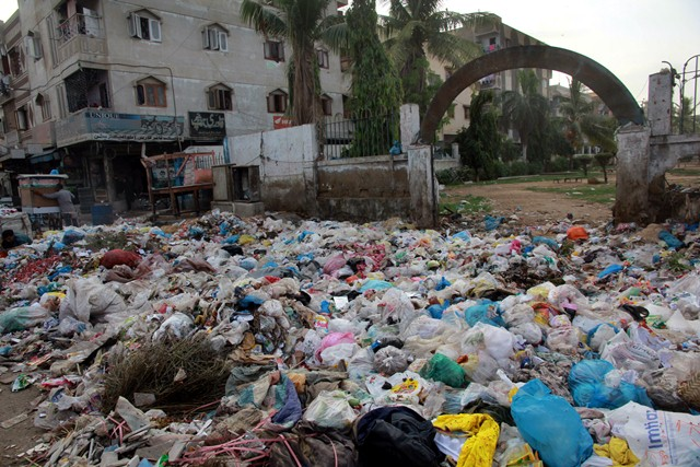 The situation in the district is dire, as garbage is being deposited in front of public spaces like parks. PHOTO: ATHAR KHAN/EXPRESS