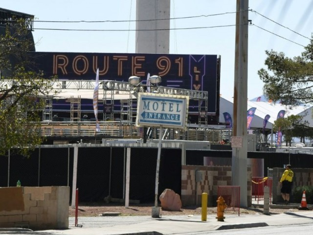 The front entrance to the Route 91 festival venue in Las Vegas Nevada