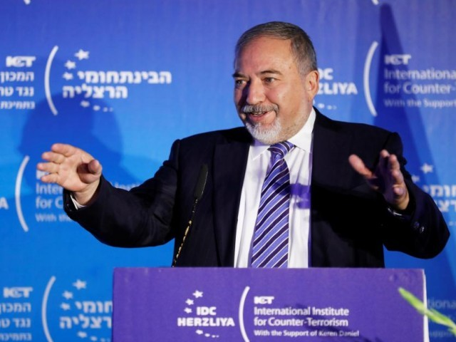 Israel's Defence Minister Avigdor Lieberman speaks during the International Institute for Counter Terrorism's 17th annual conference in Herzliya, Israel. PHOTO: REUTERS