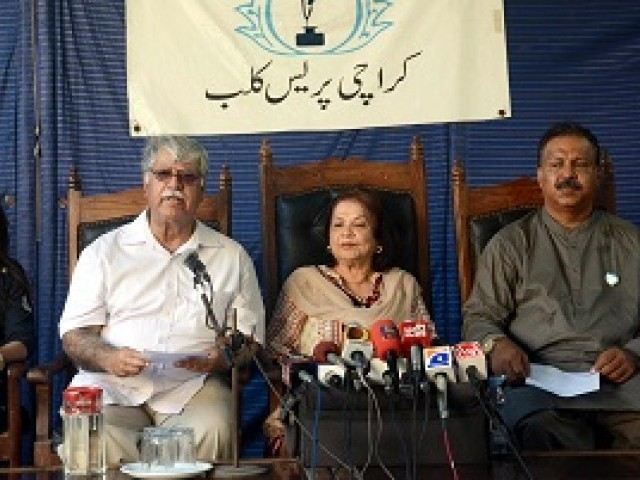 Call for action: During a press conference held on Wednesday at the Karachi Press Club, a joint action committee comprising members of various civil society organisations urged that the family of Khaskheli be given protection from the accused as her father is facing continuous threats. PHOTO: MOHAMMAD AZEEM/ EXPRESS