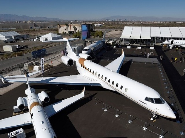 An aerial view of Bombardier's new Global 7000 business jet is seen during the National Business Aviation Association conference and expo at the Henderson Executive Airport in Henderson, Nevada, US PHOTO: REUTERS