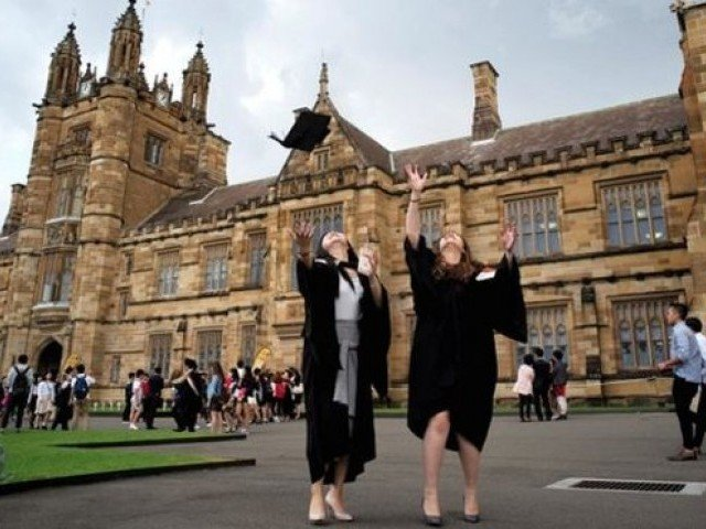 Celebrating at the University of Sydney: Australian graduates are ahead of those from US and UK. PHOTO: REUTERS