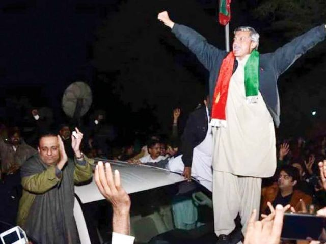 PTI general secretary Jahangir Khan Tareen celebrates his victory during a rally in Lodhran. PHOTO: PTI / FILE