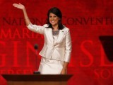 South Carolina Governor Nikki Haley waves as she arrives to address delegates during the second session of the Republican National Convention in Tampa, Florida, August 28, 2012 REUTERS/Mike Segar (UNITED STATES  - Tags: POLITICS ELECTIONS)