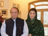 Former prime minister Nawaz Sharif with his daughter Maryam Nawaz. PHOTO: ONLINE