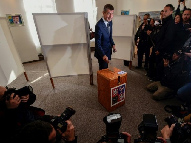 Czech billionaire Andrej Babis, chairman of the anti-migrant ANO movement, casts his ballot at a polling station near Prague in an election that could see the 'Czech Trump' take power. PHOTO: AFP