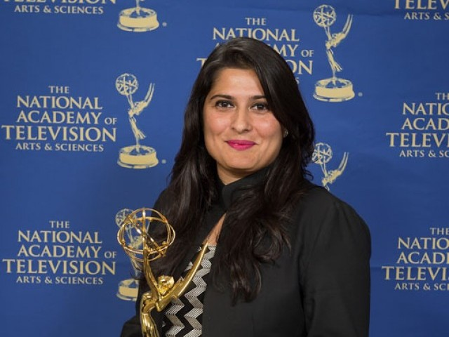 Sharmeen Obaid Chinoy posing with her Emmy. PHOTO: PUBLICITY