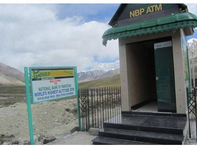 The world's highest-altitude ATM machine sits at the glacier-strewn Khunjerab Pass, on the upgraded Karakoram Highway that links China and Pakistan, Sept. 1, 2017. PHOTO: REUTERS