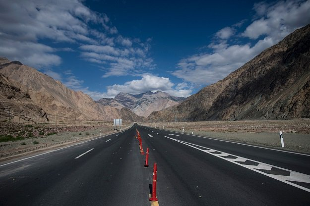 The China-Pakistan Friendship Highway before the Karakorum mountain range near Tashkurgan in China's western Xinjiang province. PHOTO: AFP