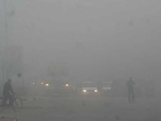Dense and foggy condition disrupting air travel and transportation in the smog-hit province. PHOTO: EXPRESS/FILE