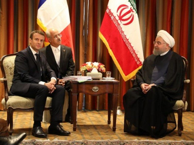 France's President Emmanuel Macron meets with Iranian president Hassan Rouhani in New York for the UN General Assembly