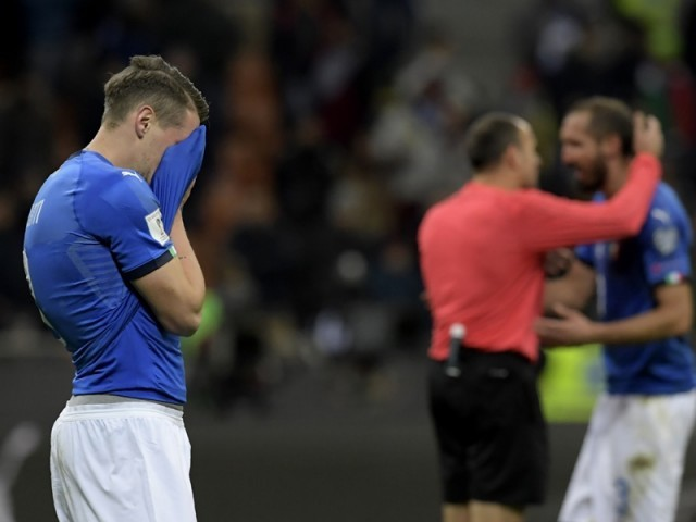 Italy's forward Andrea Belotti reacts at the end of the FIFA World Cup 2018 qualification football match between Italy and Sweden, on November 13, 2017 at the San Siro stadium in Milan. Italy failed to reach the World Cup for the first time since 1958 on Monday as they were held to a 0-0 draw in the second leg of their play-off at the San Siro by Sweden, who qualified with a 1-0 aggregate victory. PHOTO: AFP