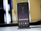A Samsung Galaxy S8+ smartphone is pictured at the introduction of the Galaxy S8 and S8+ smartphones during the Samsung Unpacked event in New York City, United States March 29, 2017.   PHOTO: REUTERS