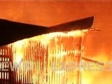 Fire engulfs a wood warehouse in Karachi. PHOTO: EXPRESS