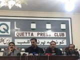 Mustafa Kamal along with other PSP leaders addresses a press conference at Quetta Press Club on Wednesday. PHOTO: PSP