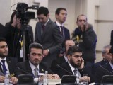 Mohammad Alloush, centre, the head of the Syrian opposition delegation, attends Syria peace talks in Astana, Kazakhstan. PHOTO: REUTERS