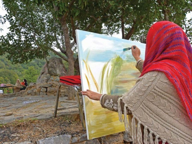 A competitor in the painting competition. PHOTO: EXPRESS