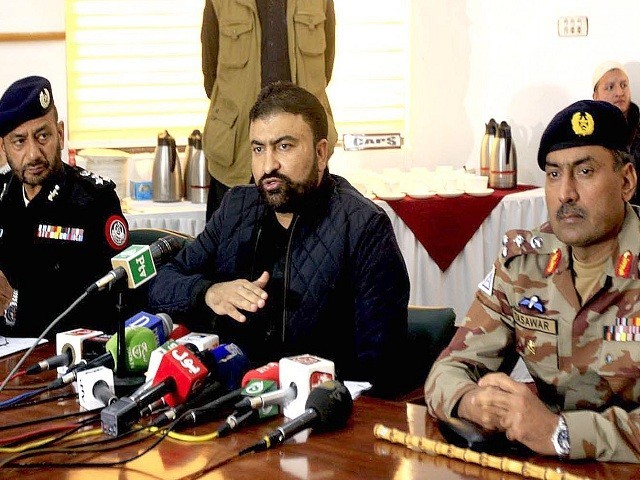 Balochistan Home Minister Sarfraz Bugti addressing a press conference in Quetta on Tuesday. PHOTO: INP