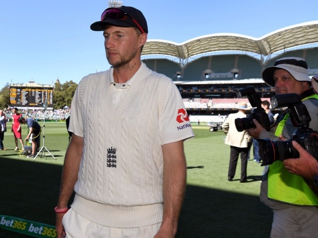 England captain Joe Root leaves the field after Australia defeated England on the final day of the second Ashes cricket Test match in Adelaide in December 6, 2017. PHOTO: AFP