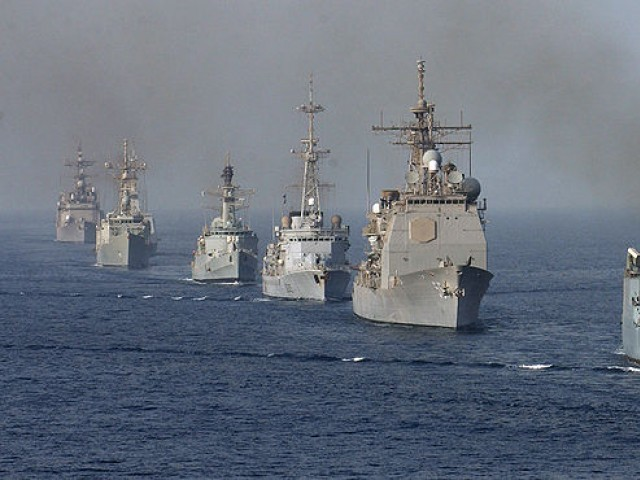 Ships assigned to Combined Task Force One Five Zero (CTF-150) assemble in a formation in the Gulf of Oman, May 6 2004. PHOTO COURTESY: http://www.navy.mil