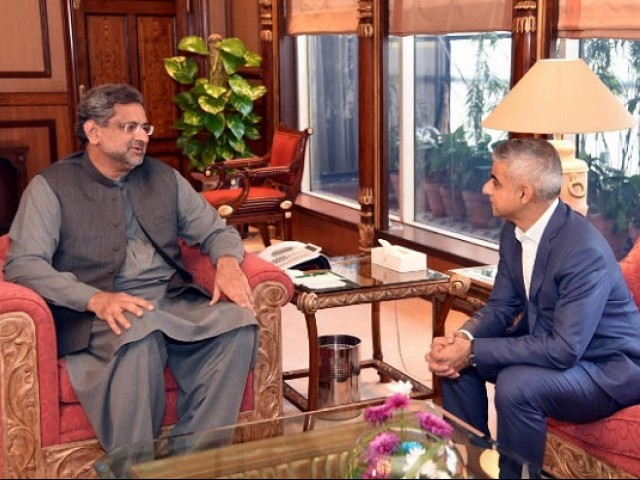 London Mayor Sadiq Khan calls on Prime Minister Shahid Khaqan Abbasi in Islamabad on December 7, 2017. PHOTO COURTESY: RADIO PAKISTAN