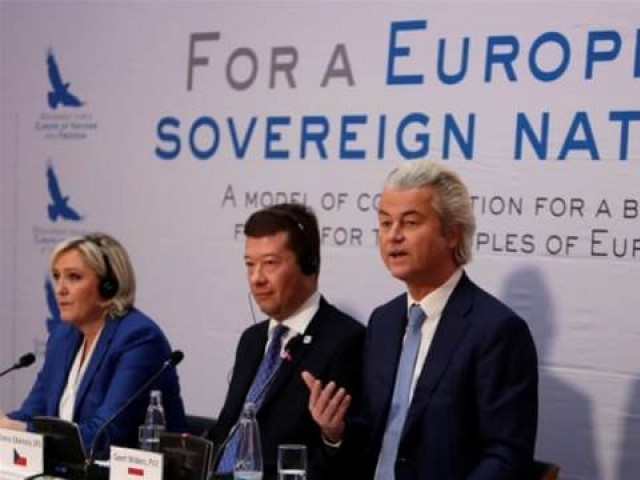 From left: Le Pen, Okamura and Wilders gathered in Prague to rally against the EU. PHOTO: REUTERS