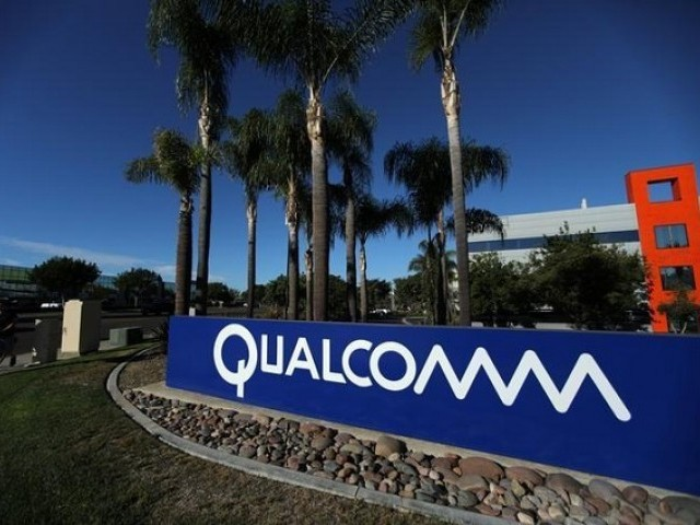 A sign on the Qualcomm campus is seen, as chip maker Broadcom announced an unsolicited bid to buy peer Qualcomm for $103 billion, in San Diego, California, US November 6, 2017.  PHOTO: REUTERS