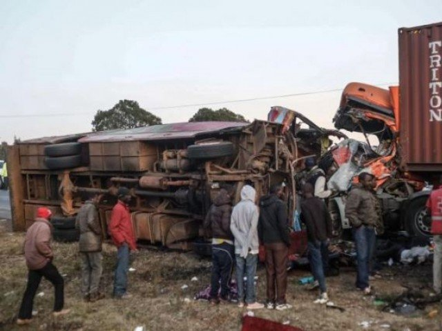 At least 36 dead after bus collides with tuck in Kenya