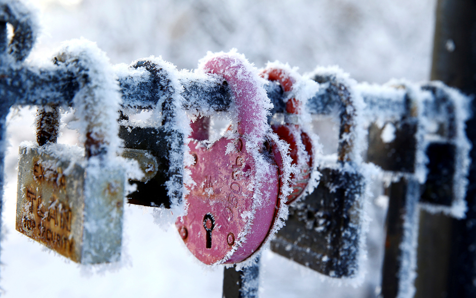 Locks hang covered with frost on a winter day at a park in Minsk, Belarus. PHOTO: REUTERS
