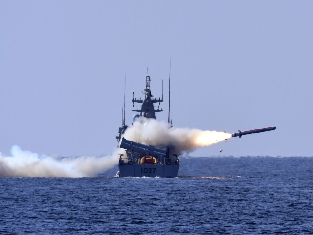 Indigenously built Harbah naval cruise missile is fired by PNS Himmat on Wednesday. PHOTO: PAKISTAN NAVY