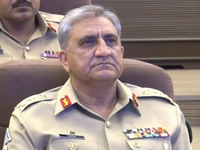 COAS Gen Qama Bajwa being briefed at Rawalpindi Coprs. SCREEN GRAB
