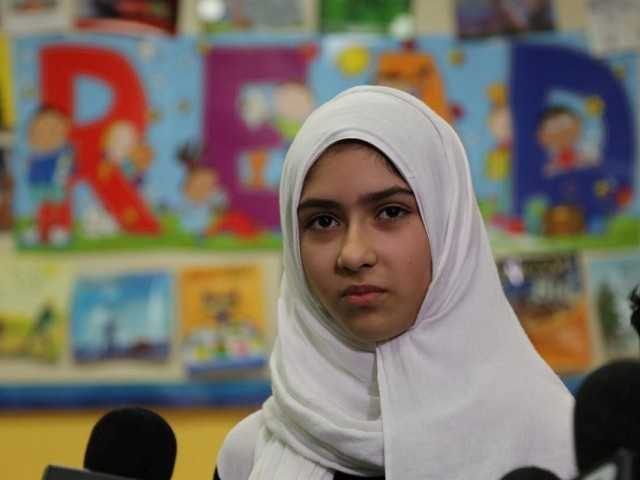 Khawlah Noman, 11, speaks to reporters at Pauline Johnson Junior Public School, after she told police that a man cut her hijab with scissors in Toronto, Ontario, Canada January 12, 2018. PHOTO: REUTERS