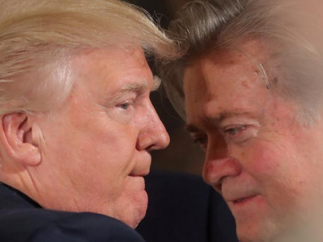 US President Donald Trump talks to then-chief strategist Steve Bannon in Washington