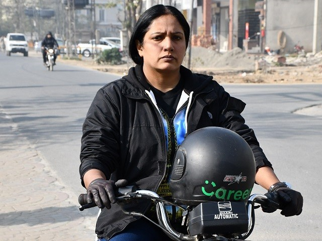 Riffat Shehraz, the first female bike captain. PHOTO: CAREEM