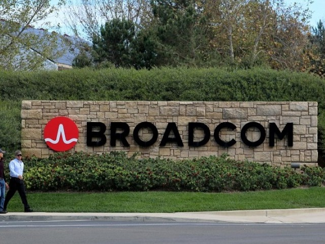A sign to the campus offices of chip maker Broadcom, who announced on Monday an unsolicited bid to buy peer Qualcomm for $103 billion, is shown in Irvine, California, US, November 6, 2017.      PHOTO: REUTERS