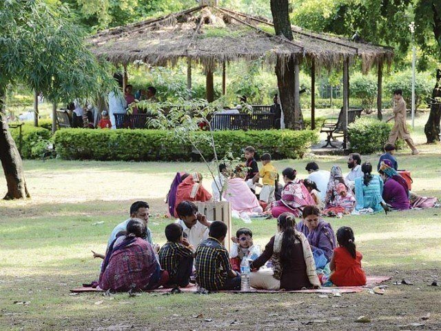 Families at a picnic in a park. PHOTO: EXPRESS