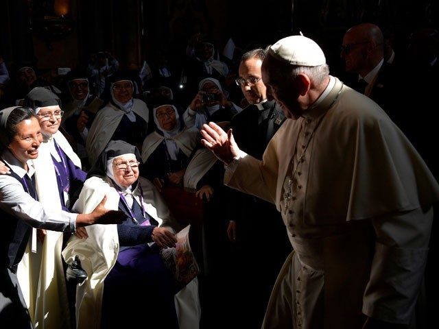 Pope brings down the house, joking with cloistered nuns