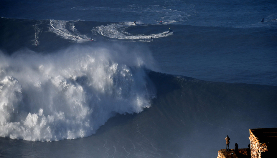 Portuguese big wave surfer Joao Guedes rides a wave during a surf session off Praia do Norte in Nazare, central Portugal. PHOTO: AFP