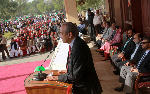 KU VC Dr Muhammad Ajmal Khan addressing the ceremony. PHOTO: ATHAR KHAN