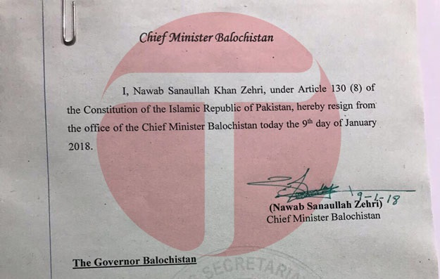 Sanaullah Zehri resigns as Balochistan CM
